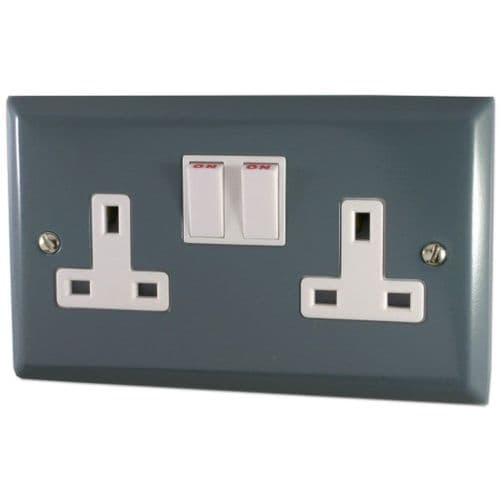 G&H SDG10W Spectrum Plate Dark Grey 2 Gang Double 13A Switched Plug Socket